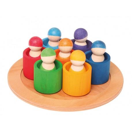 7 omini arcobaleno con ciotoline