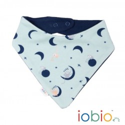 Bavaglino bandana bib  reversibile in cotone bio GOTS - Moon Monkeys