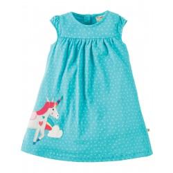 Vestitino Little Lola- Turquoise spot Unicorn - Frugi