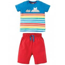 Completo pantaloncini maglietta Porthleven - Sail blue Hippo - Frugi