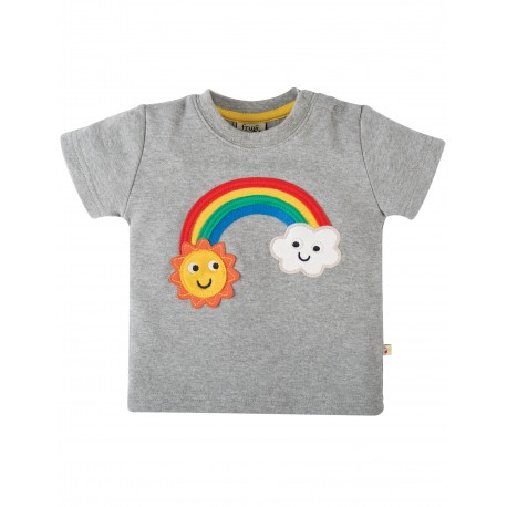 T-shirt Little crature applique - Grey marl Rainbow - cotone bio Frugi