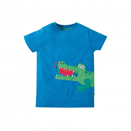 Maglietta James Applique - Sail blue Croc - Frugi