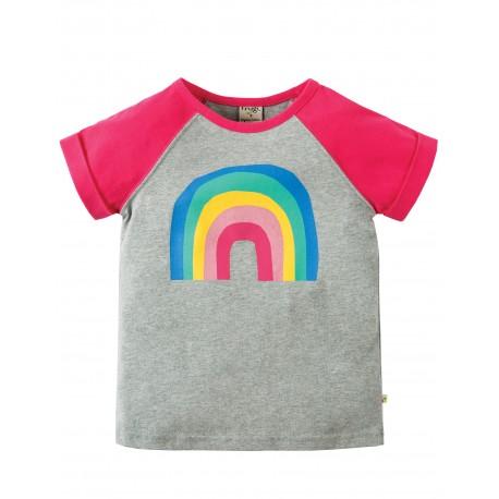 Maglietta Nancy Raglan - Grey marl Rainbow - Frugi