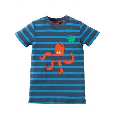 Maglietta Ollie Applique - Soft navy stripe Octopus - Frugi