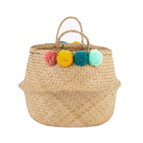 Belly Basket Pom Pom - cesta contenitore handmade e fairtrade