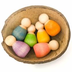 Nins® bebè - 6 omini piccini - Grapat - gioco in legno