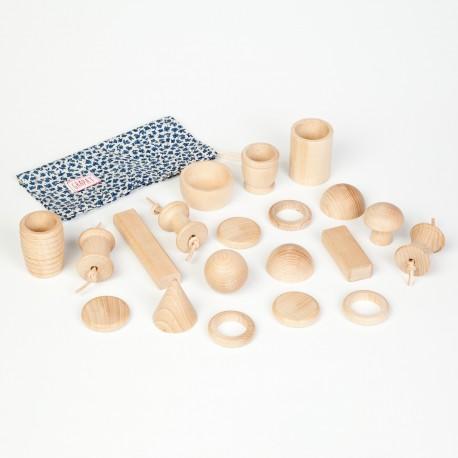 Cestino dei tesori - 20 pezzi - Grapat - gioco in legno
