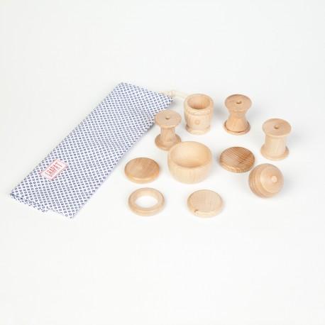 Cestino dei tesori - 10 pezzi - Grapat - gioco in legno